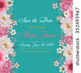 flower wedding invitation card  ... | Shutterstock .eps vector #352495967