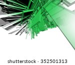 Abstract Green 3d Object On A...