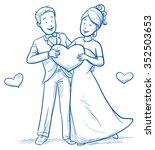 cartoon love wedding couple for ... | Shutterstock .eps vector #352503653