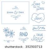 set of romantic love ornaments  ... | Shutterstock .eps vector #352503713