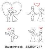 set of four cartoon love... | Shutterstock .eps vector #352504247