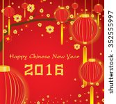 happy chinese new year card on... | Shutterstock .eps vector #352555997