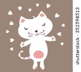 cute white cat in love. | Shutterstock .eps vector #352598513