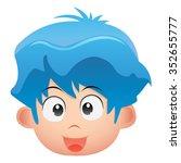 blue hair boy head kid with... | Shutterstock .eps vector #352655777
