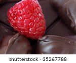 One raspberry surrounded by chocolate - stock photo