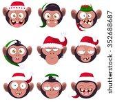set of smiles monkeys. funny... | Shutterstock .eps vector #352688687