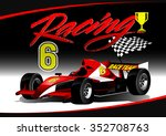 red open wheel racing car with... | Shutterstock .eps vector #352708763