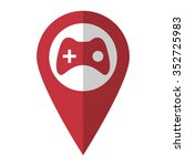 joystick   vector icon  red map ...