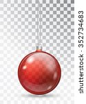 transparent christmas ball.... | Shutterstock .eps vector #352734683