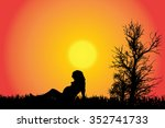 vector silhouette of a woman in ... | Shutterstock .eps vector #352741733