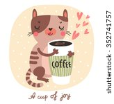 vector card with funny cat ... | Shutterstock .eps vector #352741757