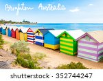 bathing boxes at brighton beach ... | Shutterstock . vector #352744247