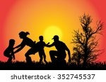 vector silhouette of a family... | Shutterstock .eps vector #352745537