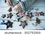 women's hands and christmas... | Shutterstock . vector #352752503