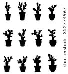 black silhouettes of cactus at... | Shutterstock .eps vector #352774967