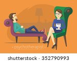 the man tells the therapist... | Shutterstock .eps vector #352790993