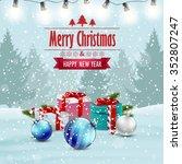 christmas card winter... | Shutterstock .eps vector #352807247