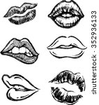 sketch lips set hand drawn... | Shutterstock .eps vector #352936133