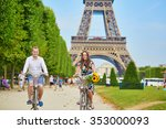 romantic couple riding bicycles ... | Shutterstock . vector #353000093