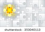 bright solution glowing jigsaw... | Shutterstock .eps vector #353040113