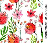 watercolor floral seamless... | Shutterstock . vector #353070383