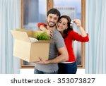 young happy hispanic couple... | Shutterstock . vector #353073827