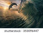 big ocean breaking wave and... | Shutterstock . vector #353096447