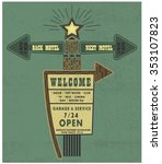 old style american motel road... | Shutterstock .eps vector #353107823
