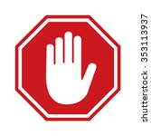 red stop sign icon with hand  ...