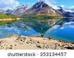 Minnewanka lake in Canadian Rockies in Banff Alberta Canada