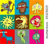 9 monsters | Shutterstock .eps vector #35325025