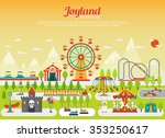 Amusement park concept with flat fairground elements with mountains on background vector illustration | Shutterstock vector #353250617