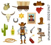 cowboy icons set with dynamite...