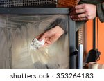 man wipes the dirty glass of... | Shutterstock . vector #353264183
