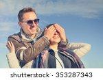 happy couple of lovers enjoy... | Shutterstock . vector #353287343