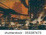 sci fi scene showing futuristic ... | Shutterstock . vector #353287673