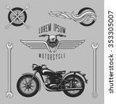 vintage motorcycle logos ... | Shutterstock .eps vector #353305007