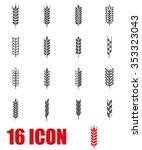 vector grey wheat ear icon set.   Shutterstock .eps vector #353323043