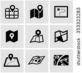 vector black map icon set. | Shutterstock .eps vector #353323283