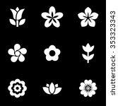 vector white flowers icon set. | Shutterstock .eps vector #353323343
