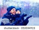 happy father and son having fun ... | Shutterstock . vector #353334923
