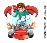 cartoon superhero with lawn... | Shutterstock .eps vector #353367587