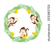 monkey and banana on circle... | Shutterstock .eps vector #353383703