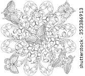 zentangle rosette with tulips... | Shutterstock .eps vector #353386913