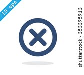 wrong mark . line vector icon   Shutterstock .eps vector #353395913