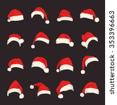 set of red santa claus hats.... | Shutterstock .eps vector #353396663