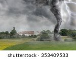 black tornado funnel and... | Shutterstock . vector #353409533