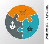 three piece flat puzzle round... | Shutterstock .eps vector #353428883