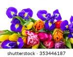 Fresh Spring Tulips And  Irise...