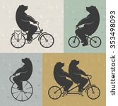 vintage illustration bear on a... | Shutterstock .eps vector #353498093